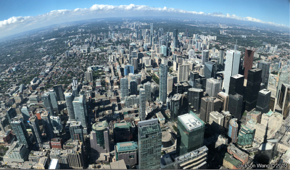 Photo of Toronto from the CN Tower, Sept 2018